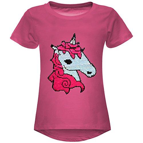 Mädchen Wende-Pailletten Stretch T-Shirt Pferde Motiv 22607 Pink Größe 152
