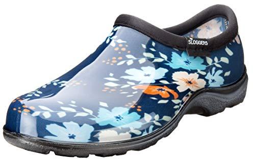 Sloggers 5120FFNBL10 Waterproof Comfort Shoe, 10, Blue Floral Fun Print