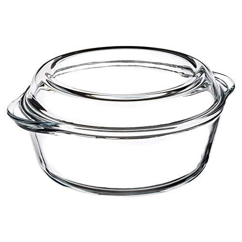 KADAX Auflaufform aus hitzebeständigem Glas, feuerfestes Gefäß, Glasbräter mit Deckel und Griffe, Geschirr zum Braten, Backofen, Elektroherd, für Lasagne, Fleisch, transparent (rund, 3.1L)