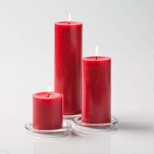Richland Church Pillar Candles Red 7.6cm x 7.6cm , 7.6cm x 15cm & 7.6cm x 23cm Set of 3