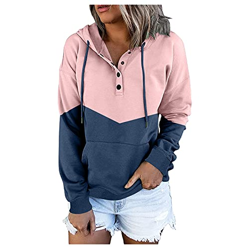 Womens Casual Sweatshirts Color Block Button Up Long Sleeve Hoodie Tunic Tops Pink