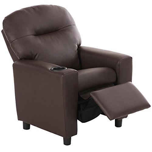 Harper&Bright Designs Kids Recliner with Cup Holder PU Leather Sofa Chair for Child (Brown)