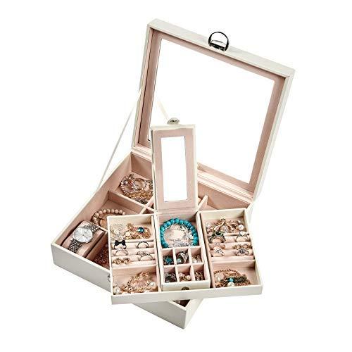 Meerveil Caja Joyero, Caja de Joyería 2 Cajones Caja Joyero con Espejo Cuero PU Forrado conterciopelo Caja para Relojes.