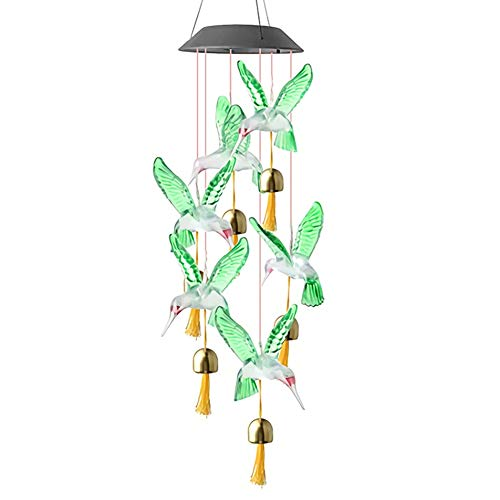 YMZ LED Solar Wind Chime Night Light Hummingbird/Butterfly Waterproof Outdoor Windchime HANGing Lamp Patio Light with Bells 7 Color Changing Wind Chimes For Home Garden Holiday Decor (Green)