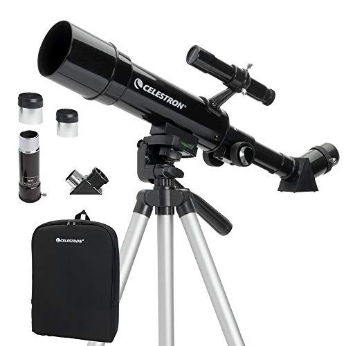Celestron Travel Scope 50 - Telescopio portable con ampliación de 18x, longitud focal 36 cm, color negro, abertura de 50 mm