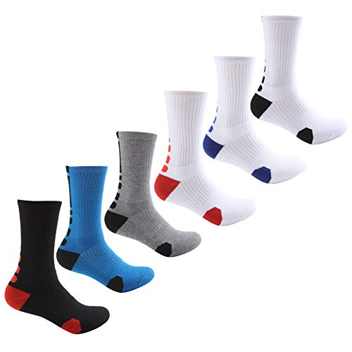MADFLIGHT Athletic Socks for Men - Elite Cushioned Crew Socks |Basketball Soccer Hiking Ski Athletic Outdoor, Dri-Fit Thick Calf Cushion Crew Sports Ankle Socks – White Variety Black Grey Red Blue
