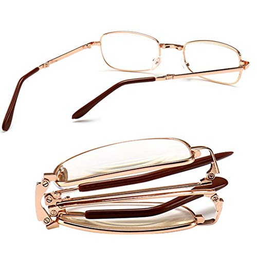 Full Frame Folding middelbare leeftijd leesbril, metalen frame Resin Lezers Glazen met Box (Size : +350)