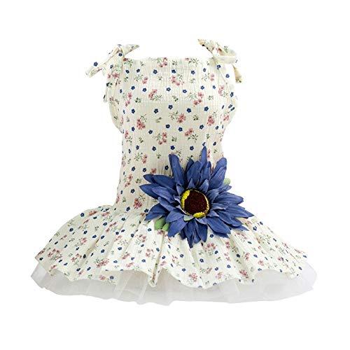 FSDFASS Hübsches Hundekleid, für kleine und mittelgroße Hunde, Sommerkleidung, Welpen, Hochzeitskleid, Blau, Größe L