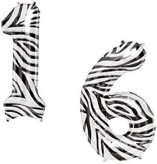 LoonBalloon SWEET 16 16th Sixteen 1 & 6 Zebra Safari Print Birthday Party Mylar Balloons Set
