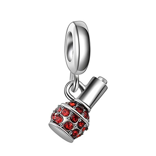 Bling Stars Mädchen Charms Nagellack Flasche baumeln Charm Bead mit Swarovski Elements Kristall für Pandora Charms Armband rot