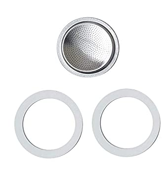 2 Silicone Seal/Rings+Filter -Replacement- Size 4 Cup for Espresso Stainless Steel Coffee Maker Pot  4 Cup