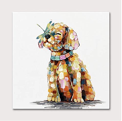 Preisvergleich Produktbild YHXIAOBAOZI Handgemalte Ölgemälde Auf Leinwand 3D-Spachtel Brauner Hund Und Libelle Abstrakte Tier Gemälde Moderne Pop Art Wand Gemälde Malerei Für Wohnzimmer Schlafzimmer Dekoration 44×44 Zoll (1
