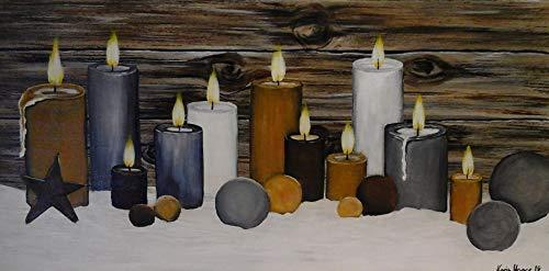 Atelier Karin Haase zeitgenössische moderne Malerei Kerzen im Schnee Wand Bild Unikat Acryl auf Leinwand Hand gemalt