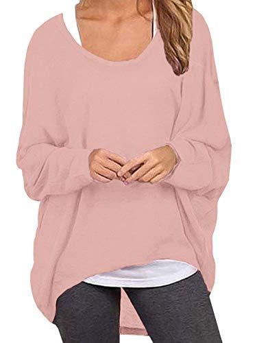 ZANZEA Damen Lose Asymmetrisch Jumper Sweatshirt Pullover Bluse Oberteile Oversize Tops Pink X-Large