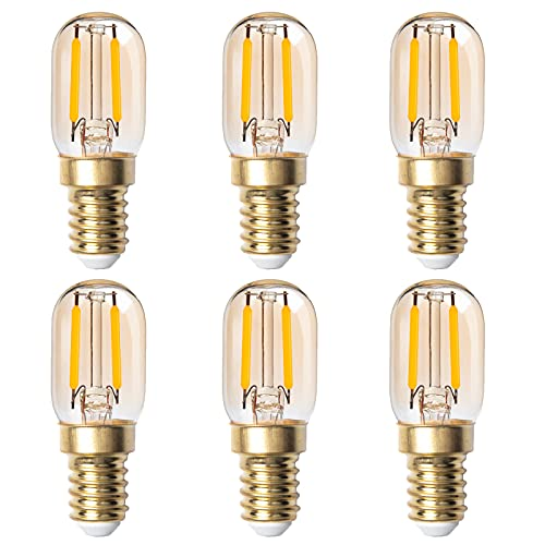 DoRight 6X Dimmable Ampoule Filament Bougie LED E14 Candélabre, Millésime Ambre Glow Ampoule Tubulaire en Verre T22, 2W (Equivalent 20W), Blanc Chaud 2200K, SES Small Edison Screw Base, AC 200-240V
