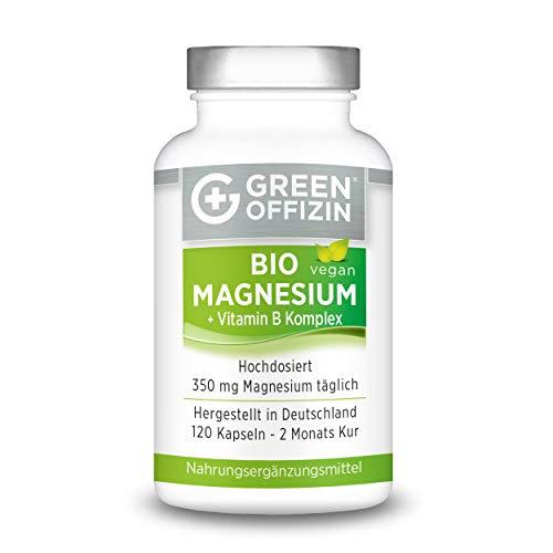 Green Offizin Magnesium I Hochdosiert 350mg je Tagesdosis + wertvoller Vitamin B-Komplex + Folsäure I Mit Dolomit Magnesium, Glycinat & Magnesiumcitrat I Vegan 2 Monate Kur (120 Kapseln)