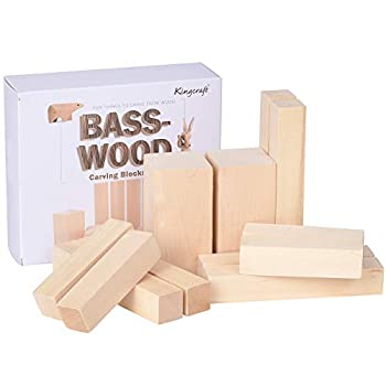 Kingcraft 12 Pack Basswood Carving Blocks Soft Solid Wooden Whittling Kit for Whittler Starter Kids