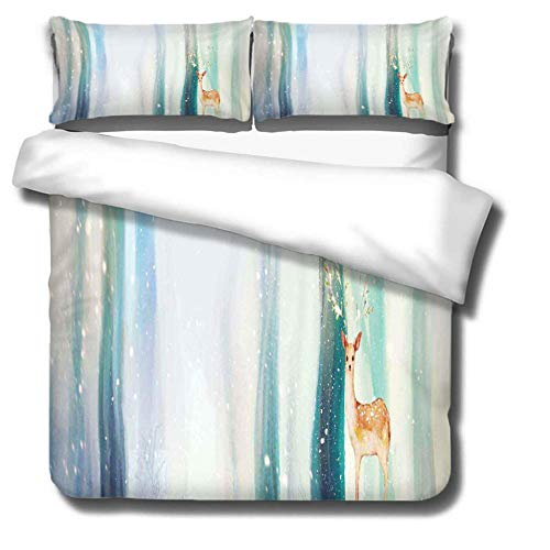 Prinbag Forest sika deer cartoon duvet cover 3-piece bedding