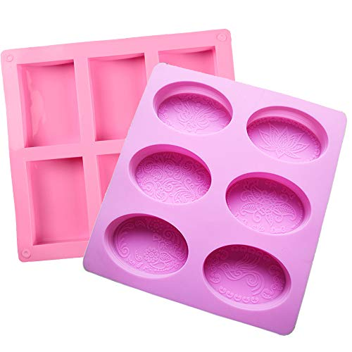 2 Pack Silicone Soap Molds, Rectangle & Oval, Chocolate Baking Mold, Cake Pan for Soap Making, Pudding, Cupcake, Muffin, Loaf, Brownie, Cornbread, Ice Cube (Pink)