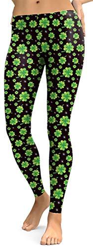 Spadehill St Patricks Day Women's Stretchy Irish Leggings Shamrock Green Printed Tight Pants Black S