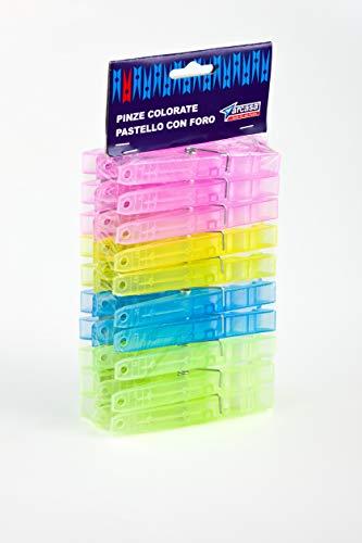 Arcasa DEP729 Pinze Plastica Colorate con Foro, 20 pezzi