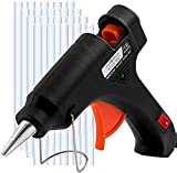 Hot Glue Gun with 25 Refill Sticks for Gluing Crafts, Small Art Projects – Heavy Duty Mini 20W High Temp Pen for Crafting, Jewelry, Wood, Fabric – Professional Tool with Stand, On Off Switch