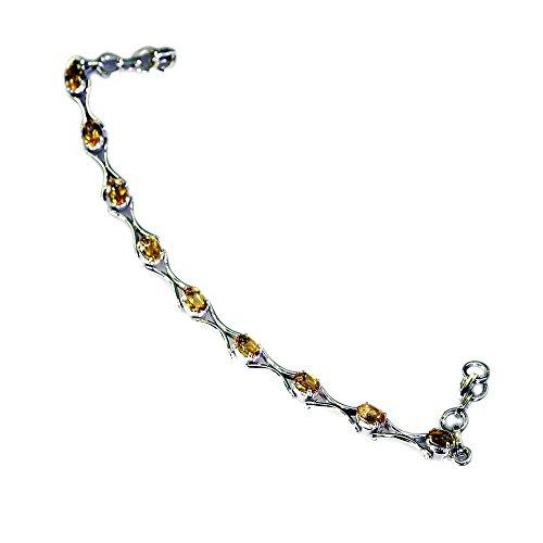 Jewelryonclick - Pulsera de Plata de Ley con Diseño de Citrino Real para Mujer, Estilo Chakra,...