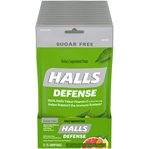 HALLS Defense Assorted Sugar Free Vitamin C Drops, 12 Packs of 25 Drops ( Total Drops), Citrus, 25 Count (Pack of 12), 300 Count
