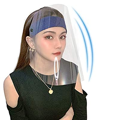 Reusable Safety Face Cover Full Face Protective Visor, Transparent Protective Facial Cover for Dirty Things, Windproof Sand Blue(Tear off the anti-scratch film on both side before use)