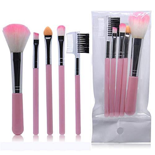 HPPL 5pcs Plein pinceaux de Maquillage pour Femmes Professionnelles Haute Poudre Fard à paupières Cils Joue Pinceau Couleur Set Outil cosmétique