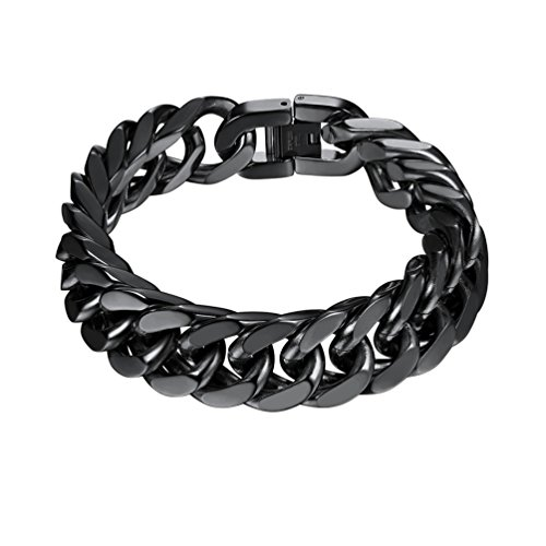 PROSTEEL Black Chunky Bracelet Mens Jewelry Stainless Steel Curb Cuban Hand Chain 17MM