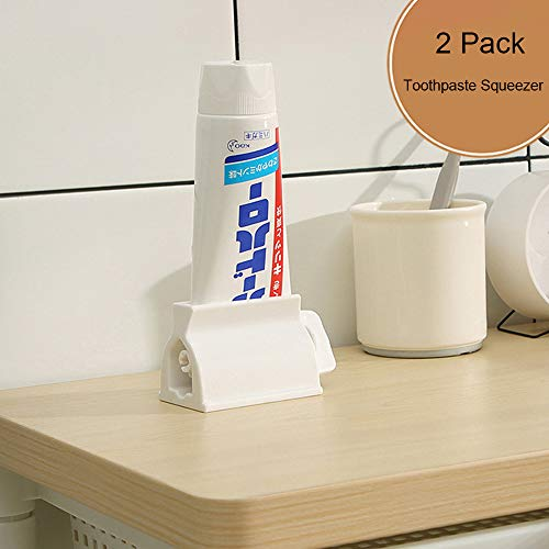 Miracle Toothpaste Squeezer Set of 2 Rolling Tube Toothpaste Holder Stand Bathroom Organizer (White)