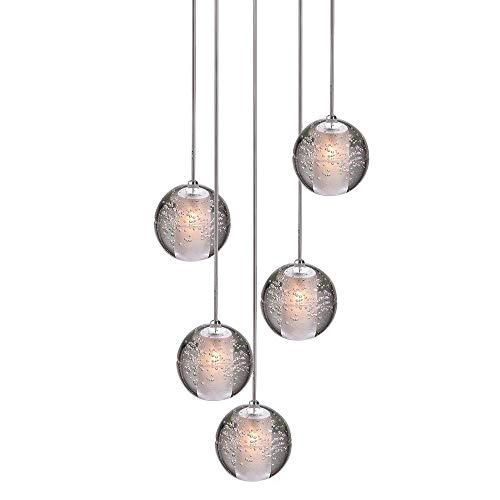 H.W.S LED Pendelleuchte Glas Kristall Hängeleuchte Lüster Dekoratives Kronleuchter Modern Pendellampe für Villa Treppe Wohzimmer Esszimmer Schlafzimmer Innenleuchte Lampe (5-Flamming, Round Plate)