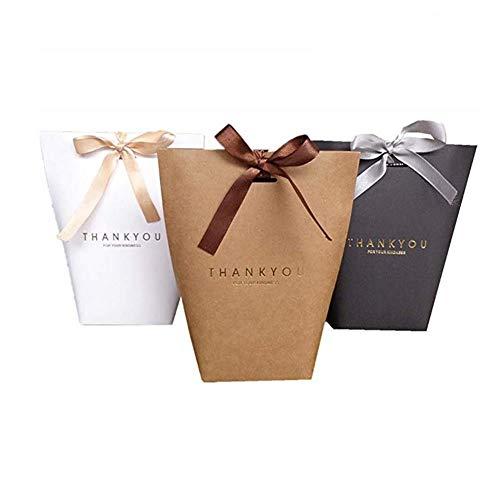 Shisheng 6 Stück Geschenktüten Set Geschenktüten mit Henkel Floß Papiergeschenk aus Kraftpapier Exquisite und Langlebig für Hochzeitsfeiern Andenken Nachtfeiern Geschenk Süßigkeit
