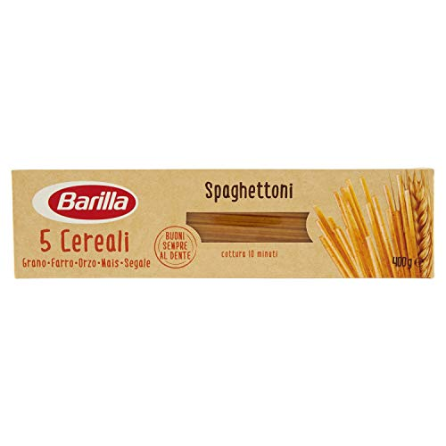 Barilla Pasta Spaghettoni 5 Cereali, Pasta Lunga di Semola di Grano Duro, Orzo, Farro, Mais e Segale - 400 g