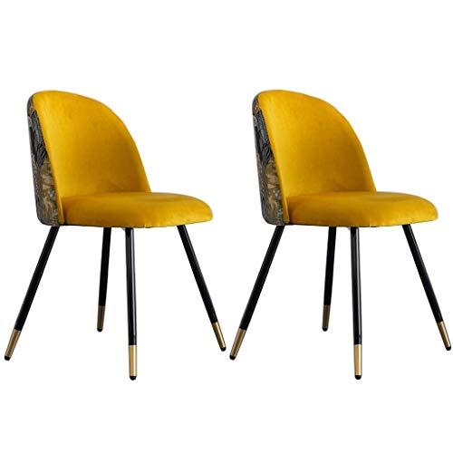 WYBW Silla de comedor para el hogar, sillas de comedor de terciopelo, juego de 2 sillas de sala de estar con asiento tapizado suave con patas de metal resistentes, cocina, sala de estar, recepción, s