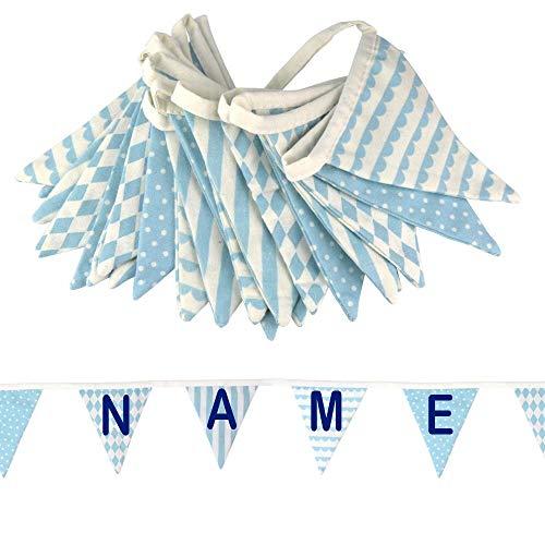 Cadena de banderines con nombre o texto personalizado de tela para habitaciones infantiles, varios modelos azul azul claro