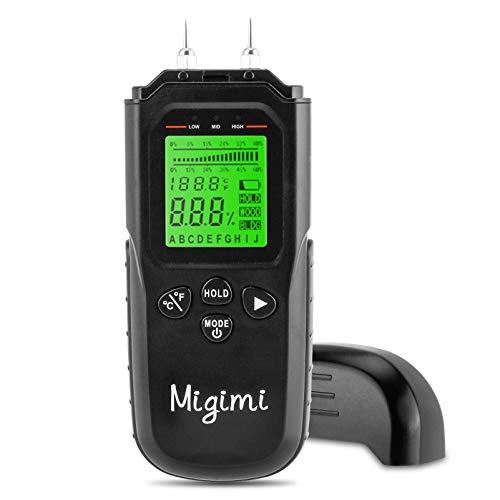 Migimi Feuchtigkeitsmessgerät, Feuchtigkeits-Detector mit LCD-Display Digitales Feuchtigkeitsmesser für Holz Baustoffen Brennholz und Wände