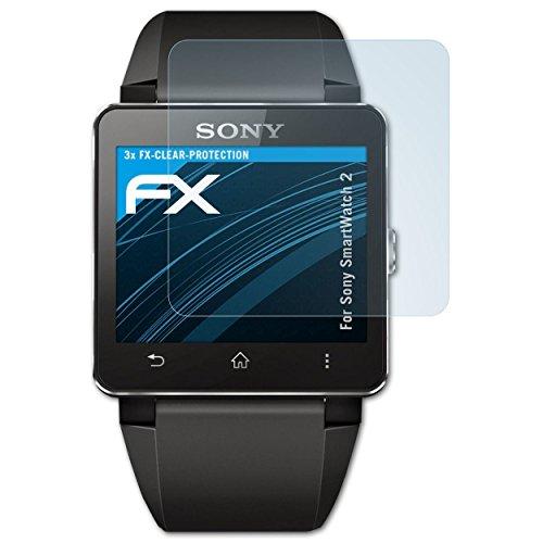 atFoliX Lámina Protectora de Pantalla Compatible con Sony SmartWatch 2 Película Protectora, Ultra Transparente FX Lámina Protectora (3X)