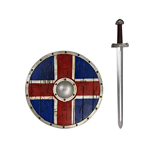 LOOYAR Kids PU Viking Age Medieval Shield and swrod Weapon Toy for Warrior Costume Battle Play Halloween Cosplay LARP Red