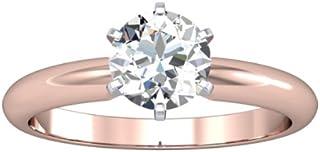IGI Certified 1.00 Carat Round Brilliant Cut/Shape 14K White Gold Solitaire Diamond Engagement Ring 6 Prong (H-I Color, I1-I2 Clarity center stones Center Stones)