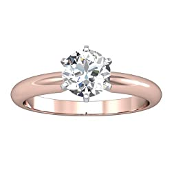 IGI Certified 1.00 Carat Round Brilliant Cut/Shape 14K White Gold Solitaire Diamond Engagement Ring 6 Prong (H-I Color, I1-I2 Clarity center stones Center Stones)