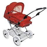 Eichhorn 417RFS-K042-EVA-FTC - Cochecito de bebé con correa de piel y ajuste de altura de los rieles con bolsa de transporte fija, rueda de goma EVA, color rojo