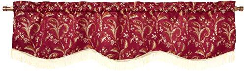 """Violet Linen Luxury Damask Window Valance, 60"""" x 15"""", Burgundy, Gold Fringes"""