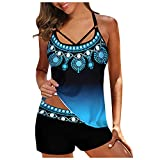 OutTop Women Tankini Swimsuits Two Piece Bathing Suits Racerback Tank Tops with Shorts Athletic Swimwear Set (#03-Blue, XXL)