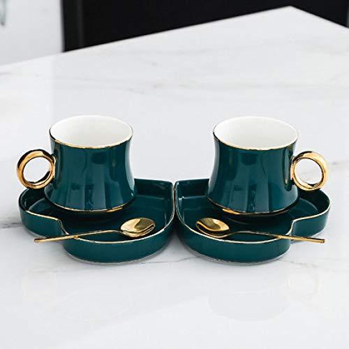 Tasse Creative Hotel Luxus-Café Kleine Luxus-Kreativ-Kaffeetasse Mit Löffel Paar Tasse Wasser Tasse Haushalt Trinkbecher und Untertasse Set Hochzeitsgeschenke D 250ml