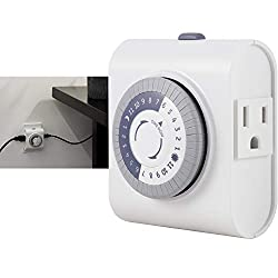 GE 24-Hour Heavy Duty Indoor Plug-in Mechanical Timer, 2 Grounded Outlets, 30 Minute Intervals, Daily On/Off Cycle
