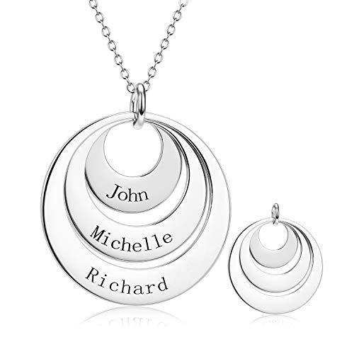 LONAGO 925 Sterling Silber Disc Name Halskette Personalisierte DREI Namen Generation Halskette Schmuck für die Familie (White Gold, Kupfer)