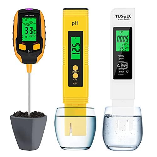 Eyglo Kit de Prueba de Suelo,Probador de Suelo Vegetal 4 en 1,Medidor de pH Digital y Medidor de Prueba de Temperatura TDS & EC,Probador de Alta Precisión para Plantas/Cuidado de Jardines/Piscinas
