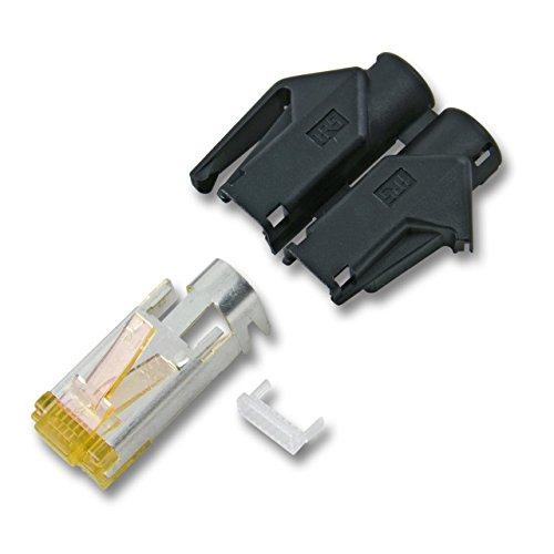 BIGtec 10 x RJ45 Stecker TM31 Hirose CAT.6a schwarz Crimpstecker RJ-45 Modular Plug Ethernet LAN Kabel Steckverbinder Netzwerkstecker geschirmt CAT 6a